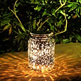 Voona 2-Pack Solar Mercury Glass Jar Hanging Outdoor Light Large Size (Silver)
