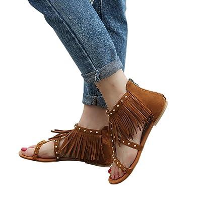 Honestyi ??Frauen Mode Einfarbig Niet Quasten Flache Ferse Sandalen Rom Outdoor Schuhe Transparente Starke Ferse...