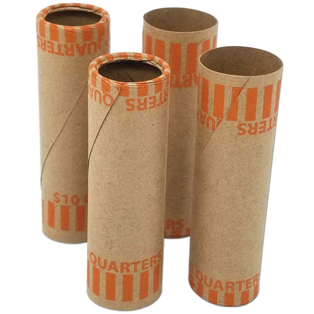 J Mark Burst Resistant Preformed Quarter Coin Roll Wrappers, 60-Count Heavy Duty Cartridge-Style Coin Roller Tubes, Includes J Mark Coin Deposit Slip (60-Q)