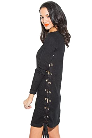 Sugar Lips Felice Lace-Up Sweater Dress at Amazon Women s Clothing store  82be4a2c4