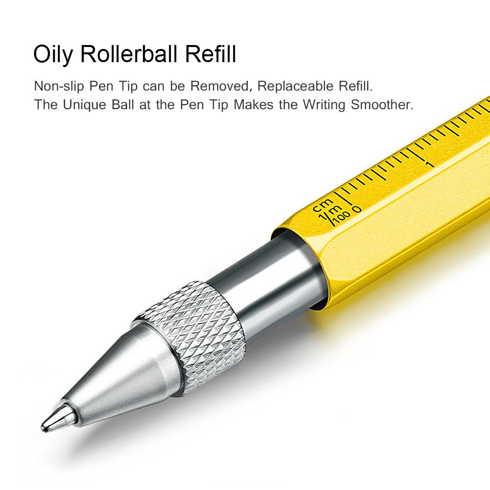 Alintor Penna con Multifunzione Strumento, Utilissimi Gadget, penna per touch screen, Penna a sfera con righello, livella a bolla, cacciavite, Idea Regalo (Giallo)
