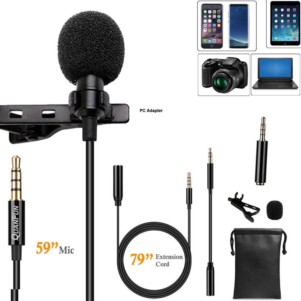 Micrófono Lavalier de grado profesional Micrófono Lavalier omnidireccional Compatible con iPhone Teléfono celular Androi