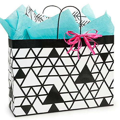 Kinetic Ink White and Black Paper Shopping Bags - Vogue Size - 16 x 6 x 12in. - 200 Pack by NW