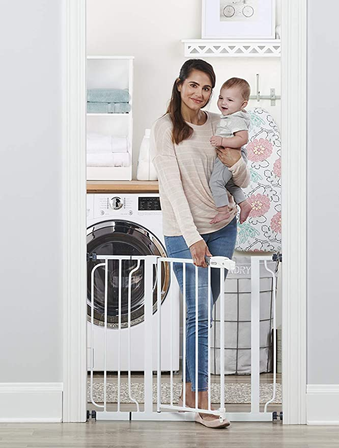 Amazon.com : Regalo Easy Step 38.5-Inch Extra Wide Walk Thru Baby Gate, Includes 6-Inch Extension Kit, 4 Pack Pressure Mount Kit, 4 Pack Wall Cups and Mounting Kit ( 1 Gate Set) : Indoor Safety Gates : Baby