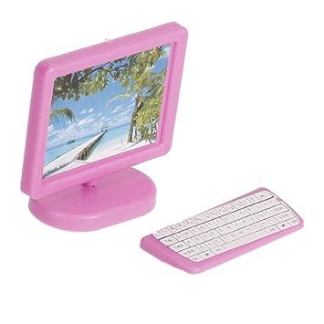 3722c5cc1adf98 Ordinateur Miniature pour Maison de Poupée - Rose  Amazon.fr  Jeux ...
