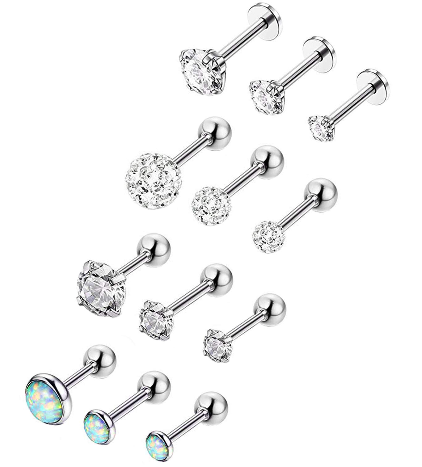 YOVORO 12Pcs 16G 316L Stainless Steel Stud Earrings for Women Cartiliage Earring Tragus Helix Piercing Created-Opal 3/4/5MM by YOVORO