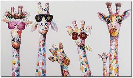 sans Cadre 60x120 cm NIEMENGZHEN Toile Peinture Graffiti Art Animal Curieux Girafes Famille Affiche Imprime Image D/écorative Oeuvre Graphique pour la Chambre denfants D/écor 23.6x47.2