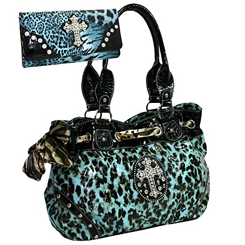 Western Rhinestone Studded Leopard Print Purse Cross Accent Handbag With Bonus Wallet - Turquoise Leopard
