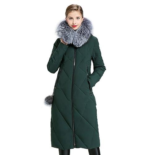 EURASIA8 - Abrigo - Parka - para mujer Verde verde oscuro Large