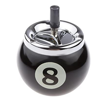 perfk Durevole botón Pool billar bola Cenicero de aluminio Nero 8 ...