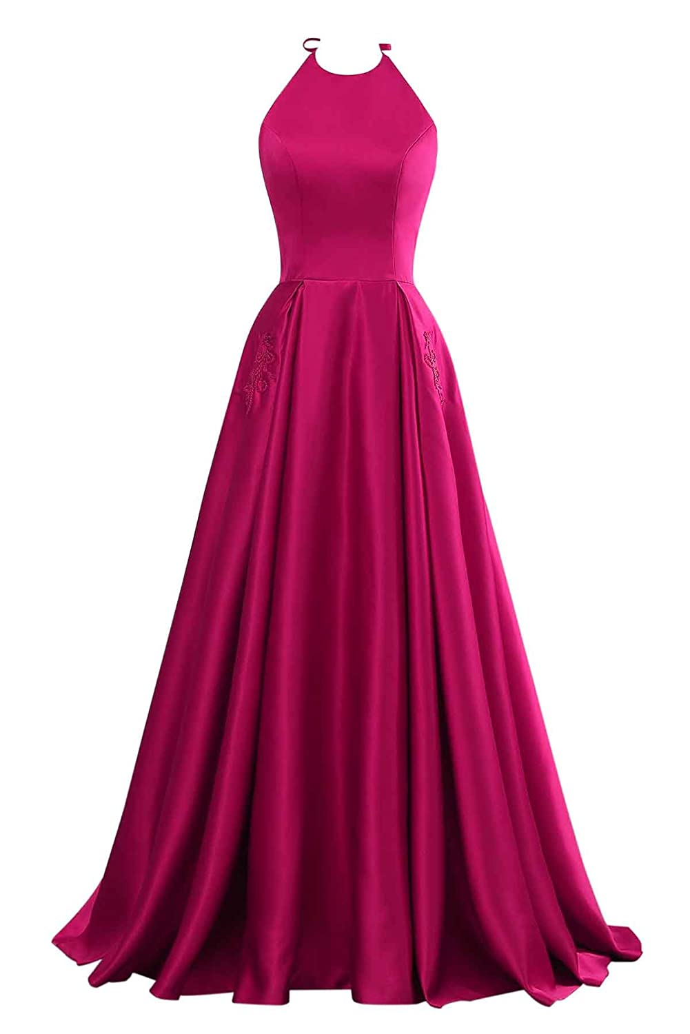 Fuchsia Changuan Halter Aline Satin Evening Prom Dresses for Women Beaded Long Formal Gown with Pockets