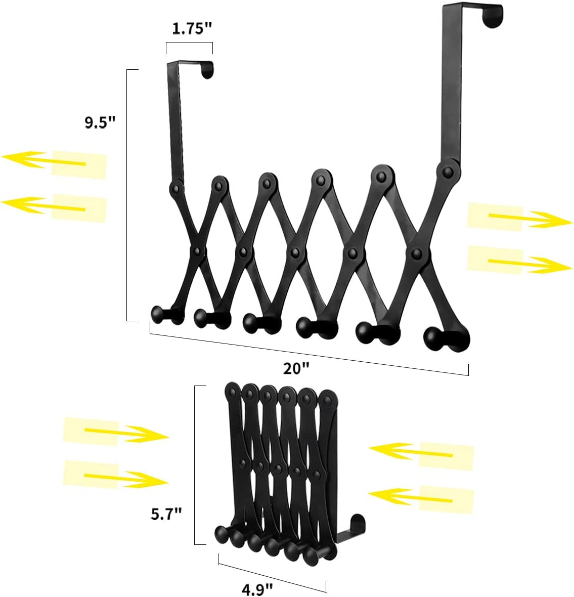 Expandable Heavy-Duty Organizer Rack for Coats Hats Hoodies Over The Door Hook Hanger 6 Peg Hooks Robe Bag Scarves Leashes Bath Towels,Towel Black - 6 Hook Stainless Steel