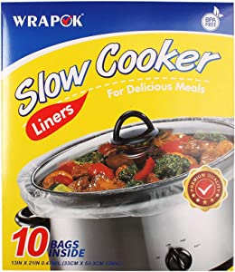WRAPOK Slow Cooker Liners Kitchen Disposable Cooking Bags BPA Free for Oval or Round Pot, Large Size 13 x 21 Inch, Fits 3 to 8.5 Quarts - 1 Pack (10 Bags Total)
