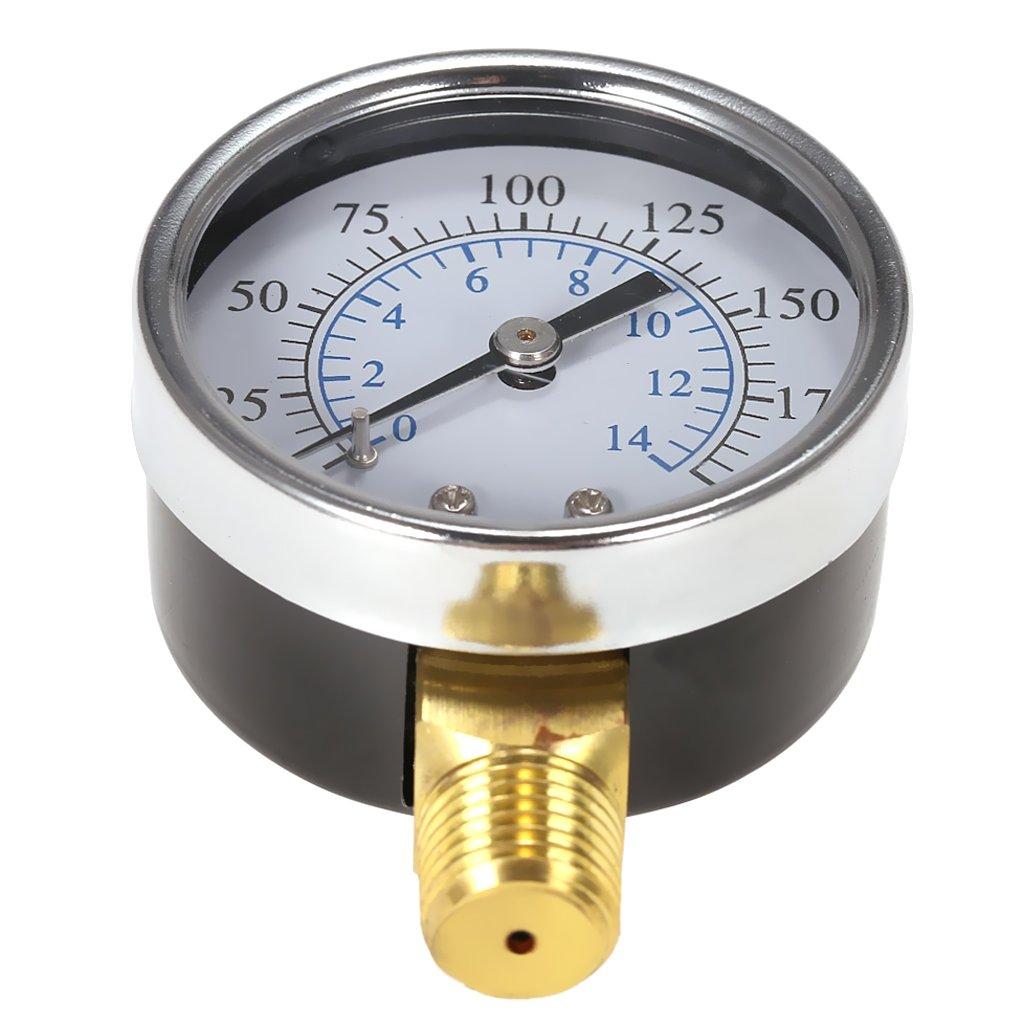 Air Compressor Pressure/Hydraulic Gauge 1/4''NPT 0-200PSI 0-14bar Manometer by MagiDeal