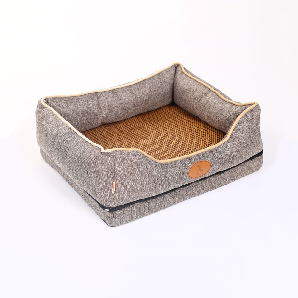 M-756025CM H.ZHOU Dogs and Cats Bed Mats Kennel Cat Nest Teddy Husky Satsuma Small Medium Dog Cat Bed Delivery Room Sofa Pet Supplies Summer (Size   M-75  60  25CM)