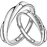 Meixao <愛の言葉>ペアリング 純銀製指輪 ジルコニア レディースリング メンズリング キラキラ スターリング シルバー 結婚指輪 婚約指輪 フリーサイズ (個別販売可)