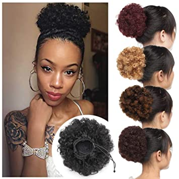 Thick Curly Updo Fluffy Scrunchy Hair Bun Extensions Afro Puff Drawstring Ponytail Kinky Puff Chignon Hairpiece With 2 Clips For African American