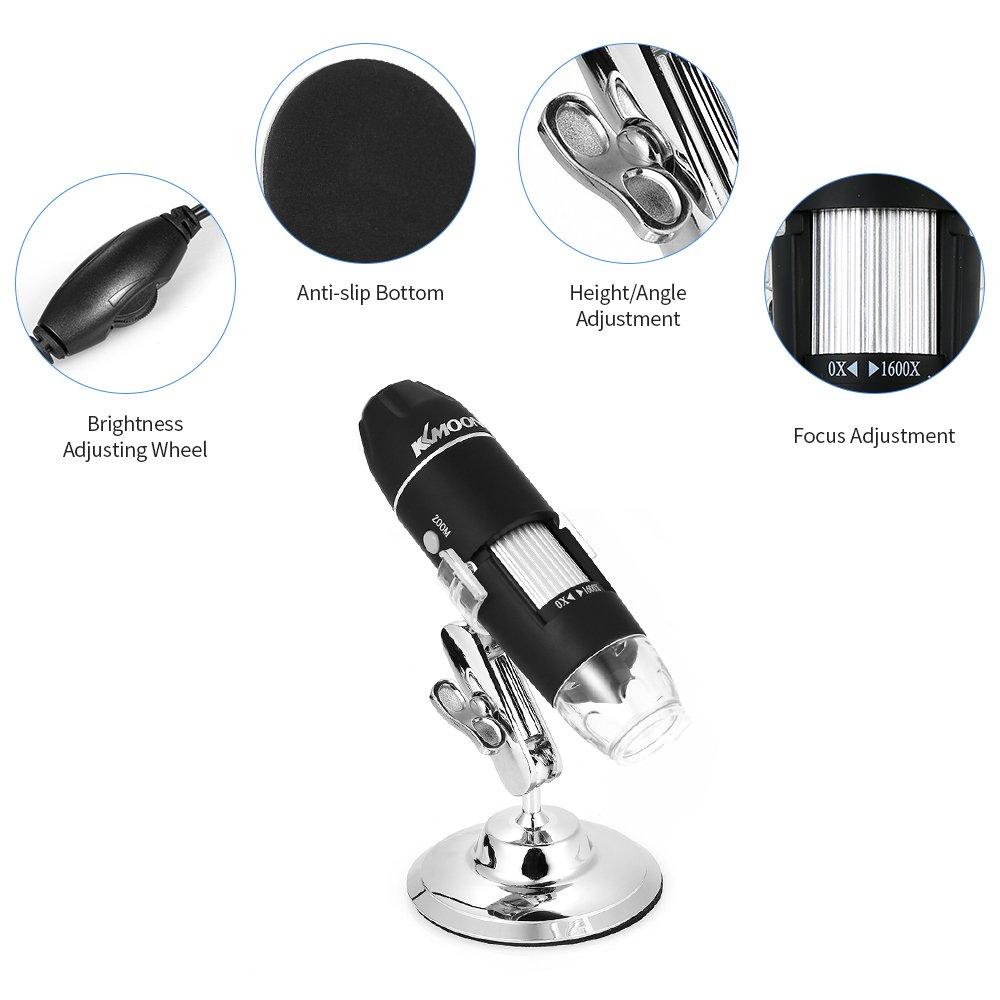 Fesjoy USB Digital Mikroskop Mikroskop Kinder Microscope Kamera 1600X Vergr/ö/ßerung Magnification f/ür Windows Handys【mit OTG Funktion Endoskop 8-LED Licht Lupe Lupe mit Stand】