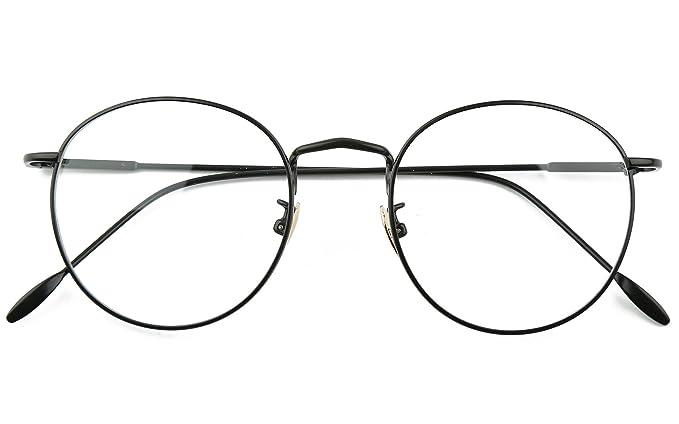 2d213495cf94 Beison Retro Round Optical Metal Glasses Frame Clear Lens 48mm (Black, 48)