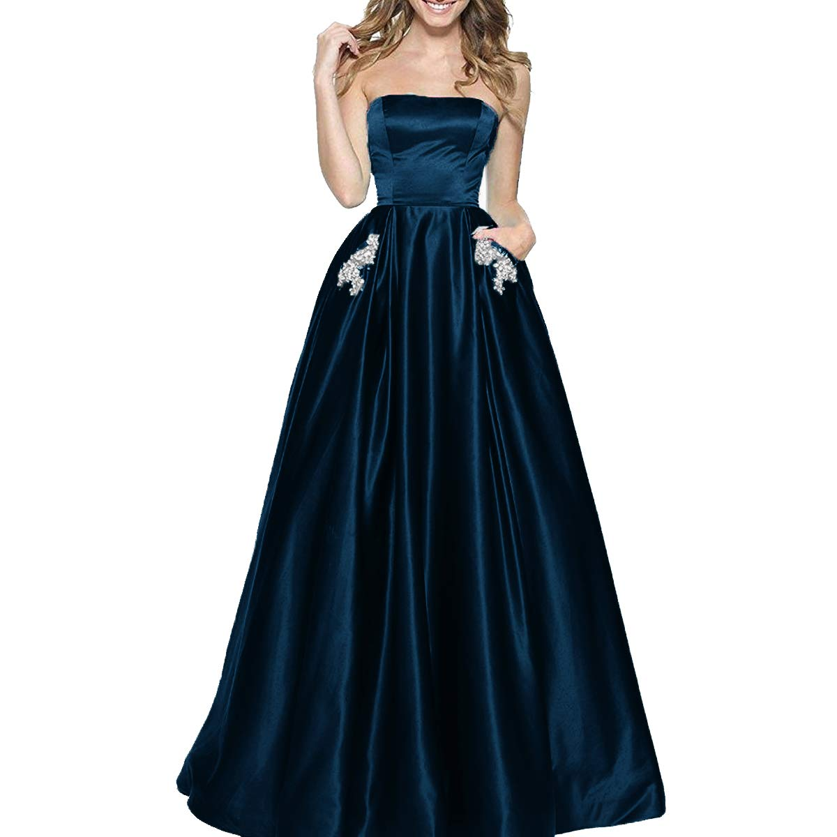 Dark Navy TTYbridal Women's ALine Strapless Beaded Prom Dresses Long Satin Homecoming Party Gown with Pockets