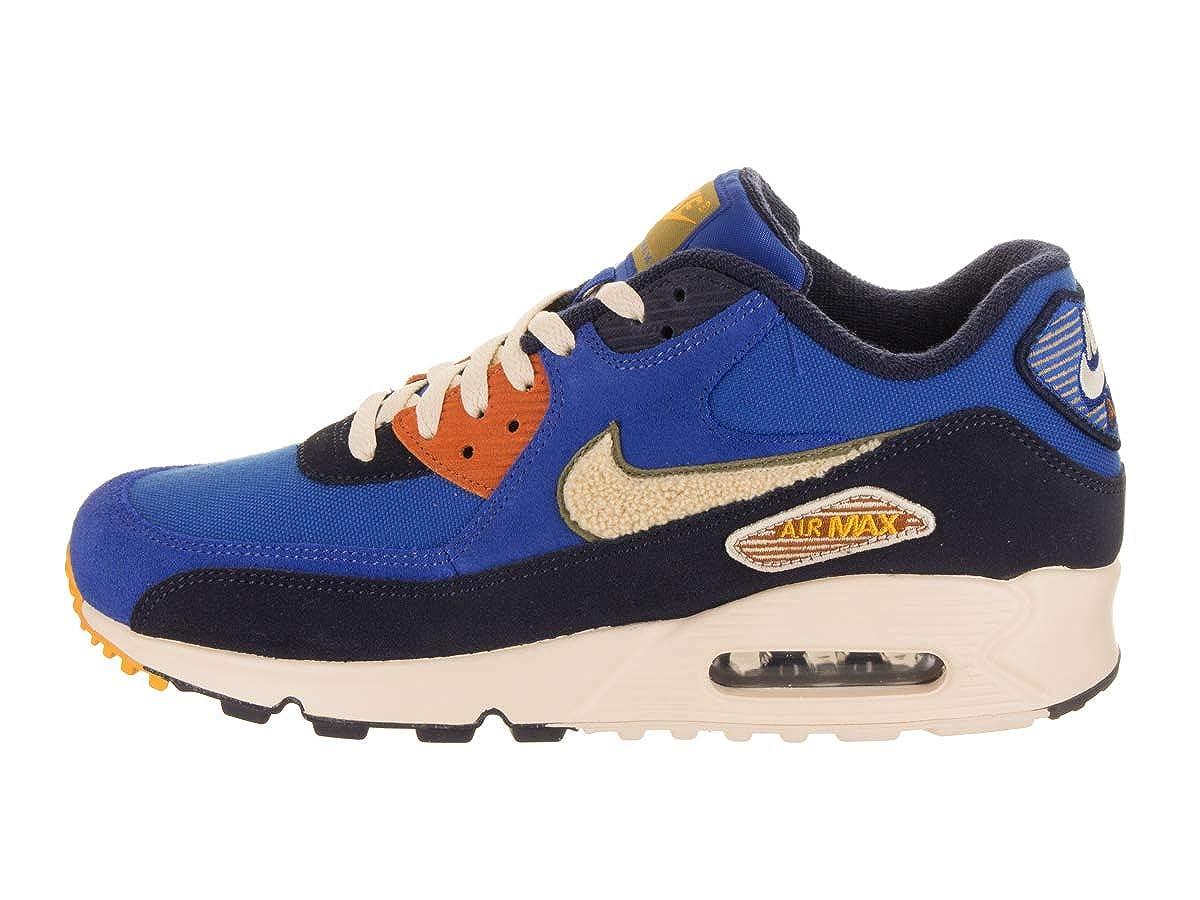 Nike Men's Air Max 90 Premium SE Running Shoes, Game RoyalLight Cream Camper Green, 11.5