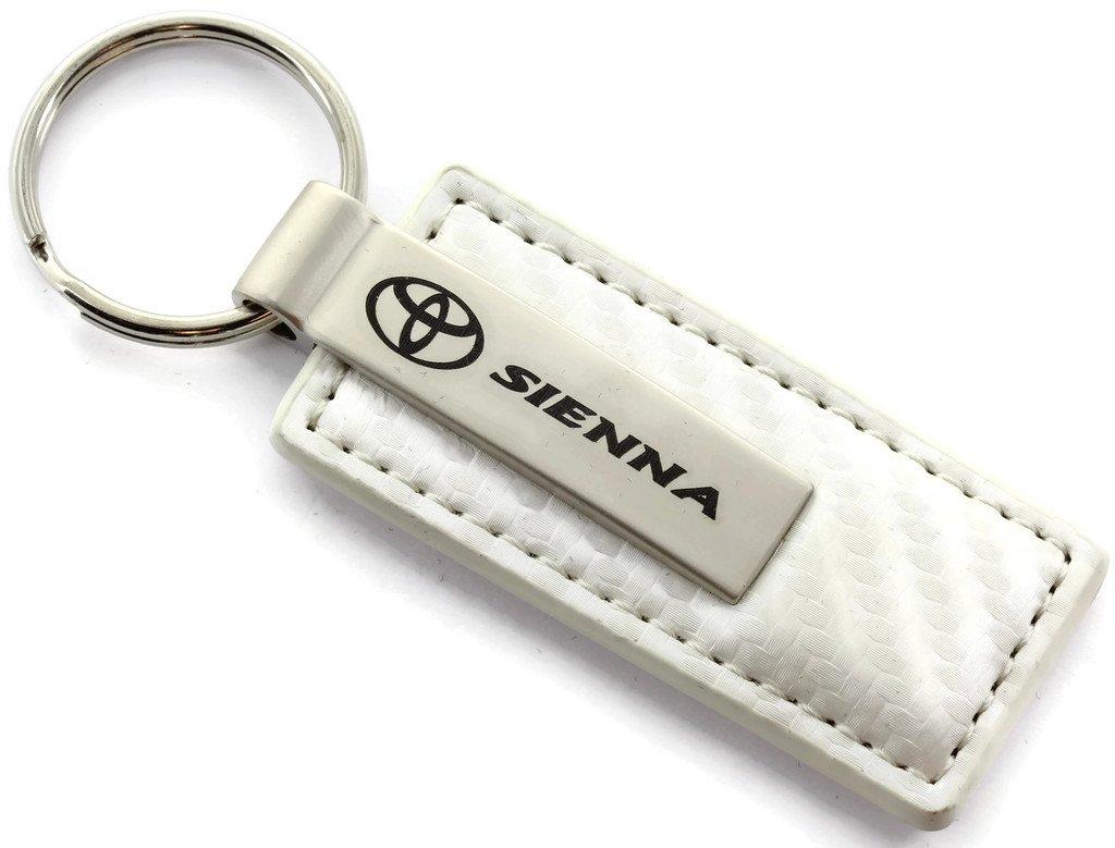 Au-Tomotive Gold INC Toyota Sienna White Carbon Fiber Leather Key Chain Metal