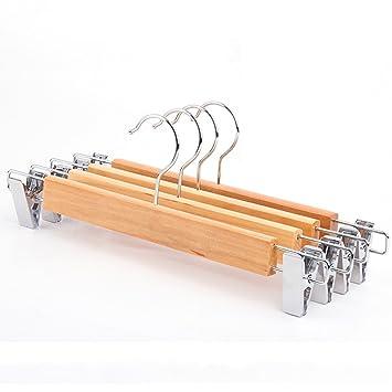Aufhänger,Kleiderhaken Garderoben-Zahnstangen Hosen-Aufhänger Farbe : Holz Farbe 10packs Kleiderständer Feste hölzerne Hosen-Klipp