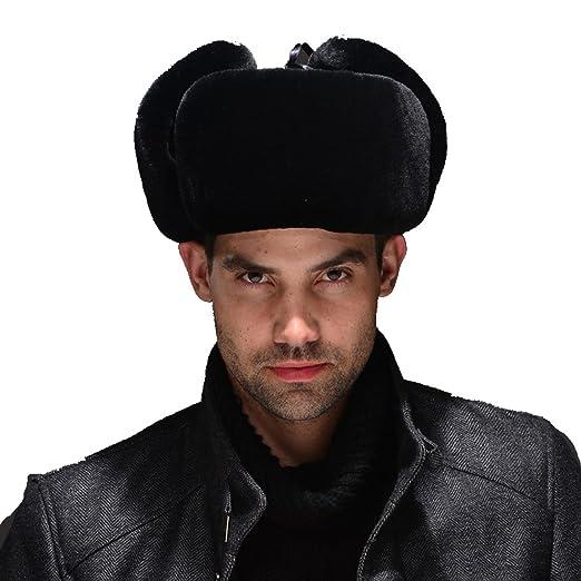 e0389dc0a0838 URSFUR Mouton Sheepskin   Leather Russian Ushanka Hat (One Size ...