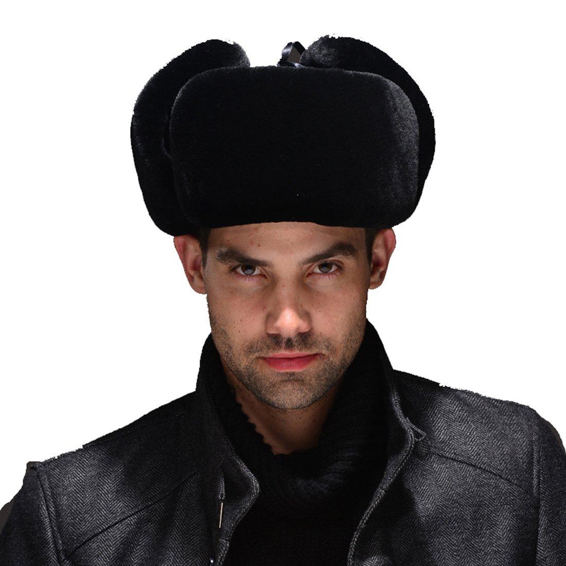 URSFUR Mouton Sheepskin & Leather Russian Ushanka Hat (One Size, Black) by URSFUR