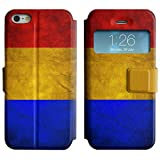 Graphic4You Vintage Romanian Flag of Romania Design Open View Window Leather Wallet Case Cover for Apple iPhone SE / 5 / 5S