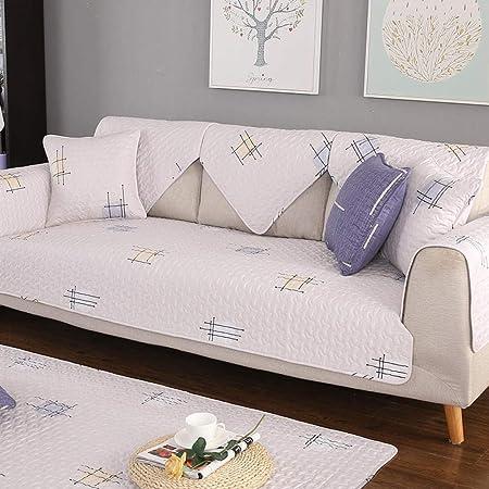 ABUKJM Fundas Sofas 3 Plazas,Cojín de sofá de Tela de algodón Pastoral Funda de sofá Antideslizante Simple Cuatro Estaciones se aplican @ Tic TAC Toe Beige_110 * 110cm(1PCS): Amazon.es: Hogar