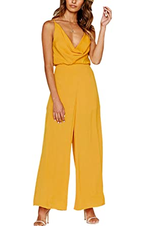 fb74b58cc3ed Angashion Women s Sexy V Neck Spaghetti Strap Backless Jumpsuit Loose Wide  Leg Long Pant Rompers Yellow