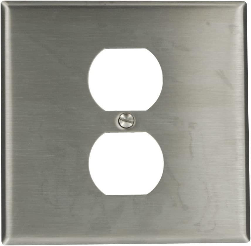 Leviton 84039-40 2-Gang Type 302 Stainless Steel 1-Duplex, Centered Opening Wallplate, Stainless Steel