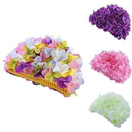 CQSMOO Gorros Gorro de baño, diseño de Flores Gorras de baño Personalizadas, tridimensionales y