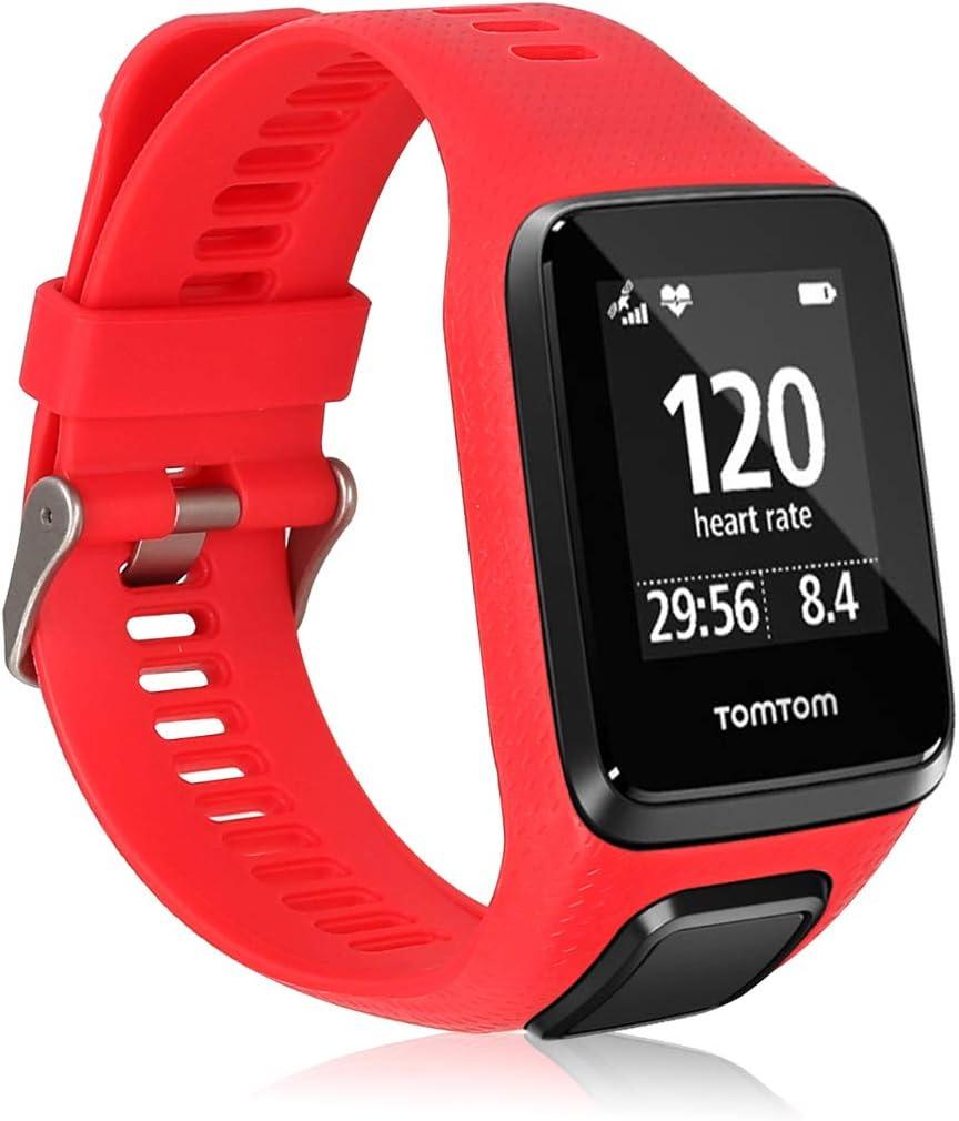 kwmobile Pulsera Compatible con Tomtom Adventurer/Runner 3/Spark 3/Golfer 2 - Brazalete de Silicona en Rojo sin Fitness Tracker
