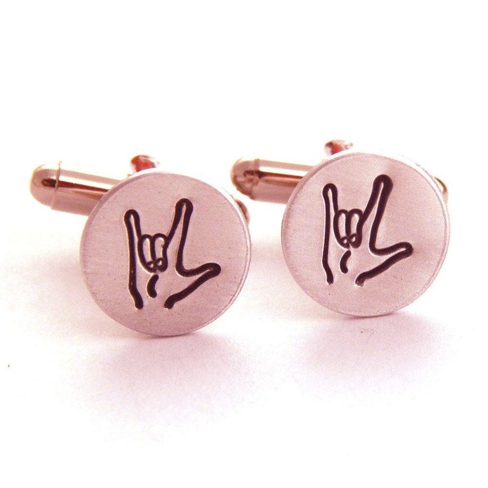 FUJIN 925 Sterling Silver American Sign Language Cufflinks Male Cufflinks Anniversary Wedding Gift