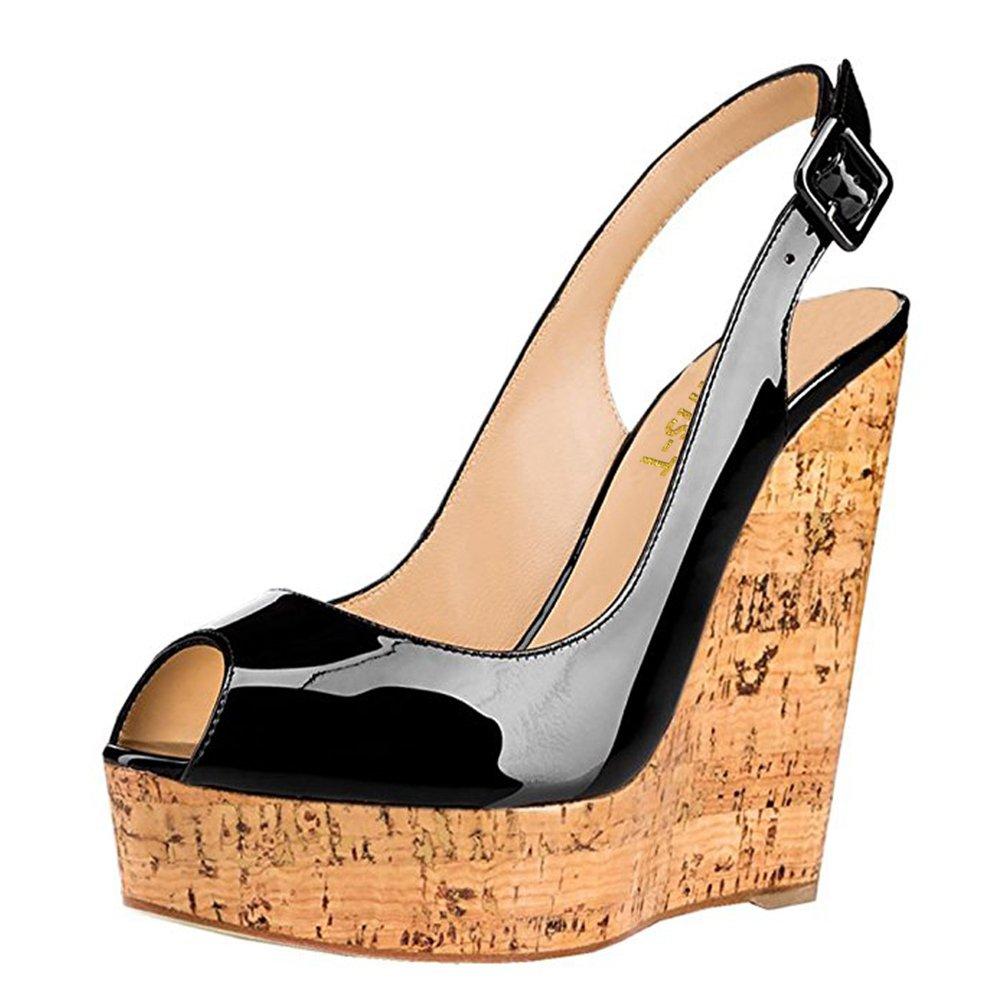 Chris-T Women's Wedges Sandals High Platform Open Toe Ankle Strap Party Shoes B07D4GT8JC 8 B(M) US|Black