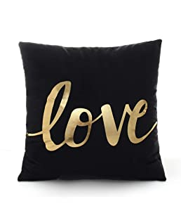 Wintefei Throw Pillow Case Bronzing Love Pattern Cushion Cover Home Sofa Decor