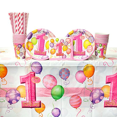 1st Birthday Girl Dessert Plate (1st Birthday Pink Balloons Party Supplies Pack for 16 Guests: Straws, Dessert Plates, Beverage Napkins, Cups, and Table Cover)