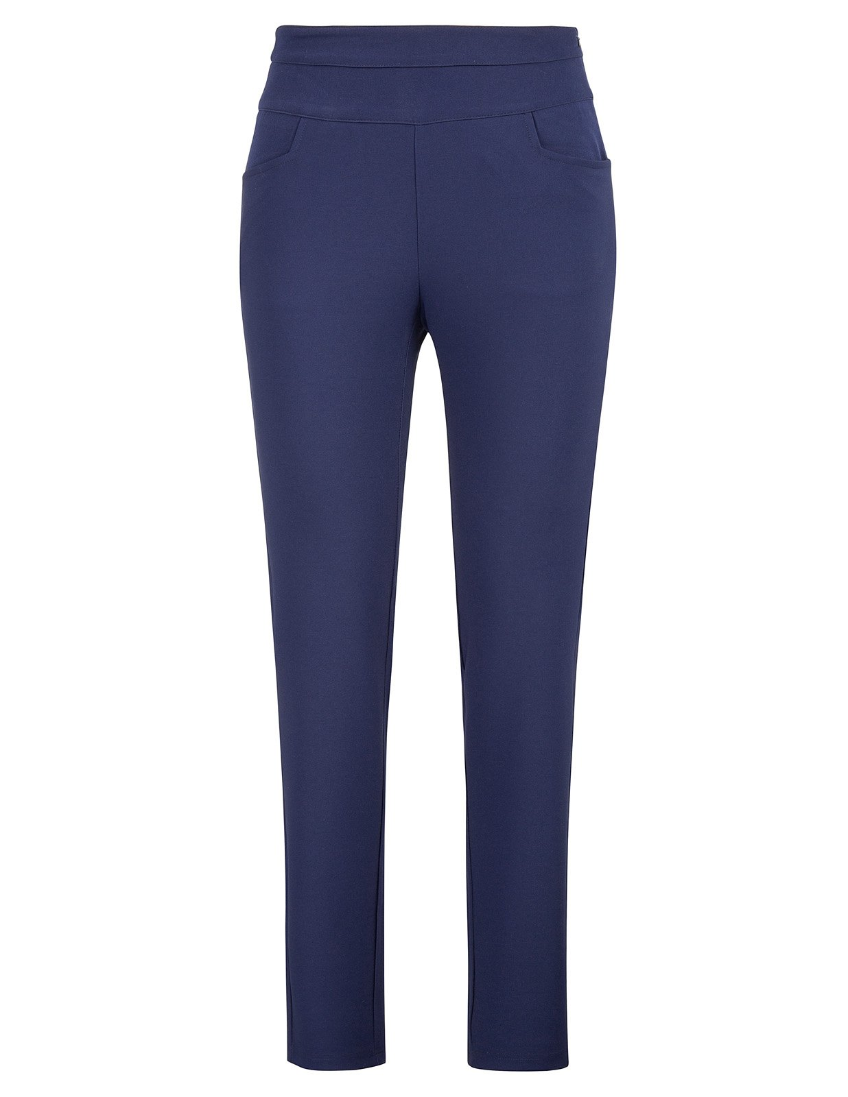 Kate Kasin Flat Front Pencil Pants with Pockets for Women Work Navy Blue L,KKAF1017-2