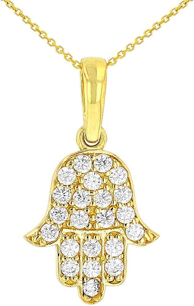 Solid 14K Yellow Gold Cubic Zirconia Hamsa Hand of Fatima Charm Pendant Necklace