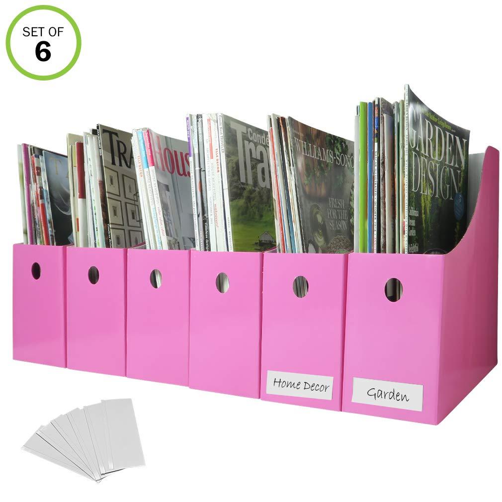 Evelots Set of 6 Magazine File Holders Desk Organizer, File Storage with Labels, Pink