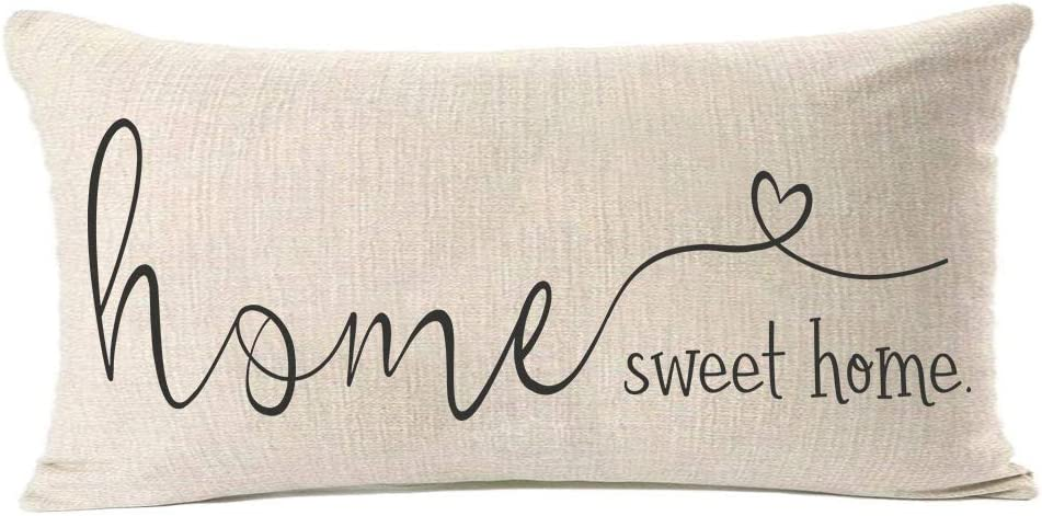 MFGNEH Home Sweet Home Quotes Farmhouse Pillow Covers 12x20 Inch,Home Decorative Cotton Linen Throw Pillow Case Cushion Cover