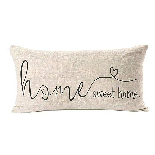 MFGNEH Home Sweet Home - Funda de cojín de Lino y algodón ...