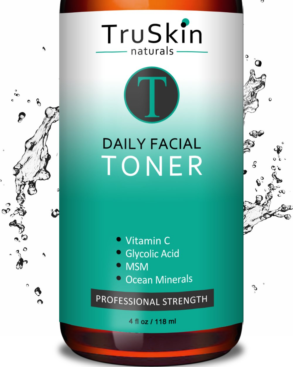 DAILY Facial SUPER Toner for All Skin Types, Contains Glycolic Acid, Vitamin C, Witch Hazel and Organic Anti Aging Ingredients for Sensitive Skin, Combination, Acne, and Even Oily Skin TruSkin Naturals 784672000000