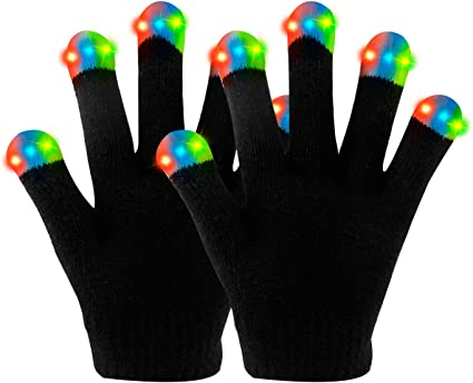 LED Flashing Gloves for Rave Disco Dancing Glow Light Up Finger Tips 3 Colours
