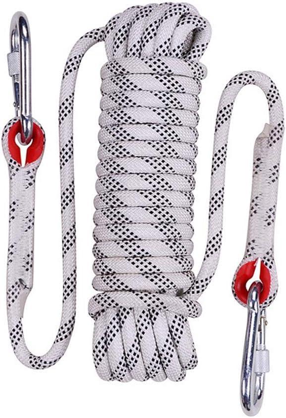安全クライミングロープ、12 mmスタティックライフラインロープアウトドア緊急脱出ロープ多機能洗濯物用ハイキングケイビングキャンプエンジニアリングレスキュー用品、ホワイト,90m  90m