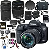 Canon EOS 7D Mark II DSLR Camera with 18-135 USM & W-E1 Wi-Fi Adapter + Canon EF 75-300mm Lens + Battery + 128GB SDXC Card + Tripod + Slave Flash unit Bundle