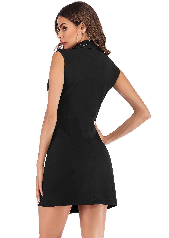 59f2545b117 Simplee Women s Elegant Double Breasted Blazer Dress Slim Fit Ruffle Office  Dress Mini Dress at Amazon Women s Clothing store