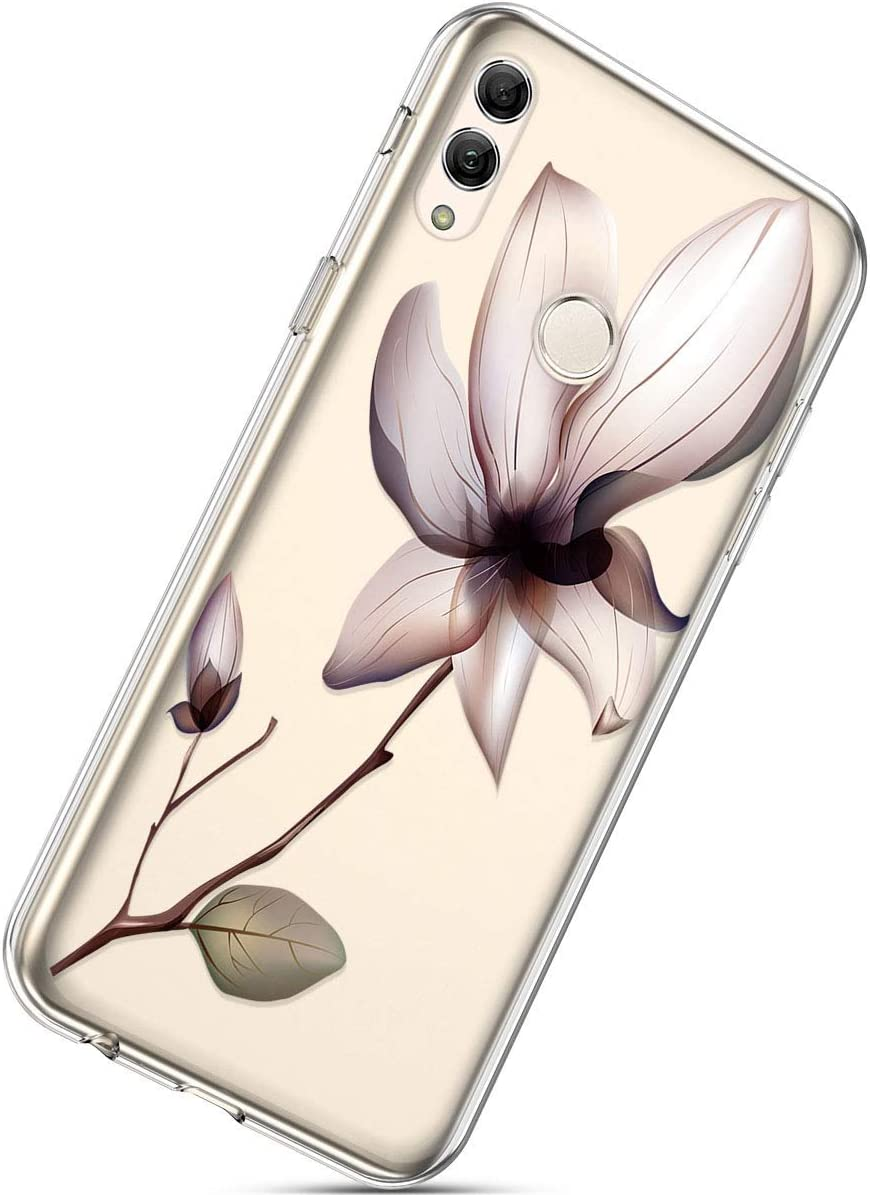 Black Lace Flower Herbests Compatible with Samsung Galaxy S10 Phone Case with Flowers Slim Shockproof Clear Floral Pattern Ultra Thin Transparent Soft Flexible TPU Back Phone Cover